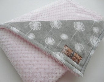Gray and Pink Dandilion Baby Blanket - All Minky - Baby Girl - Made to Order