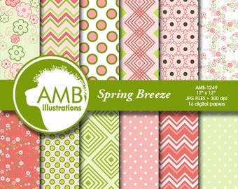 Spring digital paper, floral papers, shabby chic papers, Geometric Patterns, scrapbook papers, commercial use, instant download, AMB-1249