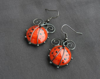 Ladybird Ladybug Drop Earrings Glass Earrings Red glass Cabochon