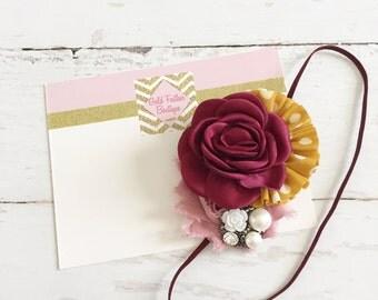 Mustard burgundy mauve blush headband // baby girl headbnd //  M2M matilda jane fall 2016