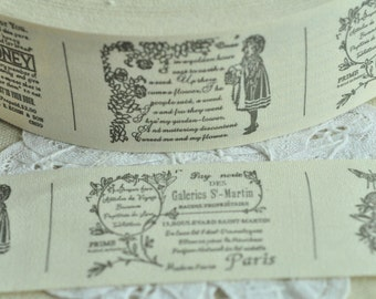 40mm(1 1/2'') x 5 Yards Sewing Trim Cotton Sewing Tape Label Ribbon Fabric - Letter Honey Girl Flower Pattern Y150