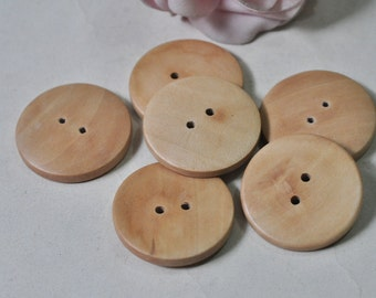 20pcs 30mm Wood Button 2 Hole Wooden Bead Sewing Accessory Unfinished MT966