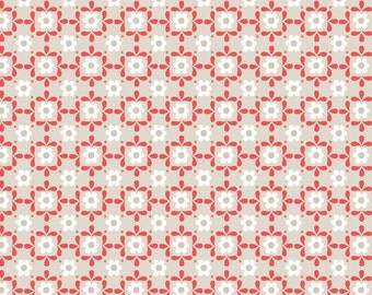 Lewis & Irene Patchwork Quilting Fabric Sam and Mitzi - A106-1 Linen daisy on Linen