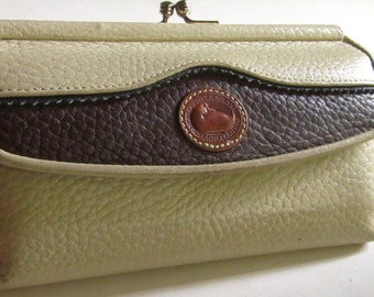 Authentic DOONEY & BOURKE WALLET-Taupe/Tan Kisslock Clutch Wallet/Coin/Credit Card/Pen Foldover Wallet Clutch