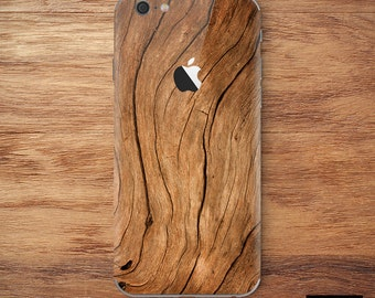 iPhone Skin Decal Sticker Kit for Apple iPhone 7 or 7 Plus, 6 or 6s Plus, 5/5s/SE Wood