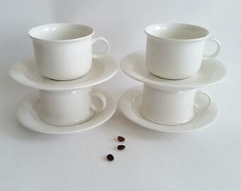 Arabia Arctica 4 sets, tea cup and saucer Inkari Leivo. Finish mid century.
