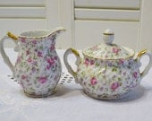 Lefton China Rose Chintz Sugar Bowl Creamer Matching Set Pink White Floral Design Gold Rim Japan PanchosPorch