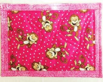 Monkey Snack Mat,  Pink Polka Dot Mat, Quilted Mug Rug, Child Snack Mat,  Quilted Snack Mat , Quilted Table Topper, Child Mat, Sewnsewsister