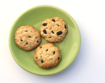 Chocolate Chip Cookies (2) and Oatmeal Raisin Cookie (1) -  Handmade Gourmet Doll Food For Your American Girl Doll