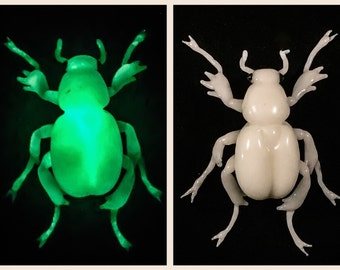 Glow in the dark Beetle - borosilicate glass sculpture