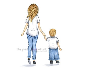 Mother and Son art, Baby boy nursery art, nursery decor, children wall art, Blonde mom and son, Mother son illustration, Toddler motherhood