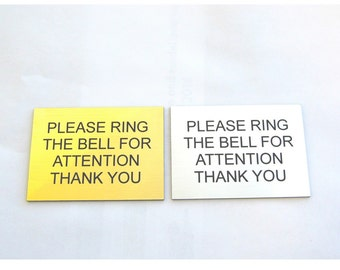 Engraved Plaque Ring The Bell For Attention Reception Hotel Sign Plaque