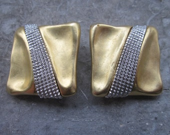 Dramatic Erwin Pearl Clip Earrings, Signed P.E.P., Wavy Square, Satin Gold Tone and Silver Tone Diamanté