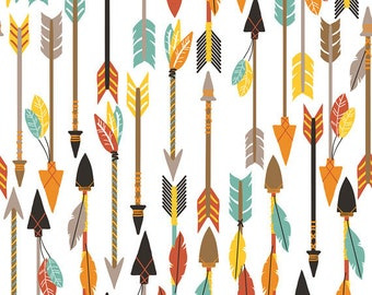One Yard Luckie - Quills and Arrows in White - Cotton Quilt Fabric - by Maude Asbury for Blend Fabrics - 101.115.06.1 (W3461)