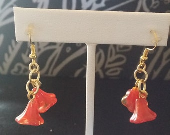 Red and Gold Flower Drop Earrings