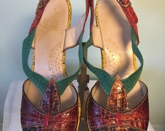 1960s Easy Walkers Multicolored Snakeskin Peeptoe Sandals