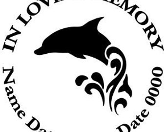 In Loving Memory Round Swimming Dolphin Waves Ocean Vinyl Decal Sticker