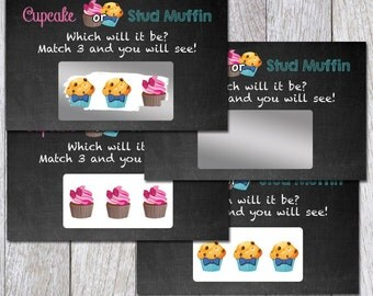 Cupcake or Muffin Gender Reveal Scratch off Ticket Game