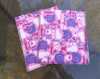 Elephants, Hippos and Giraffes Large Serged Edge Boutique Style Flannel Burp Cloth Set - New Design