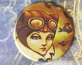 Handbag mirror with pouch, steampunk gift, steampunk accesories, aviator cat, original illustration by Poison B.