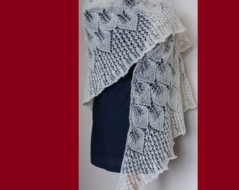Hand knitted triangular lace wool shawl