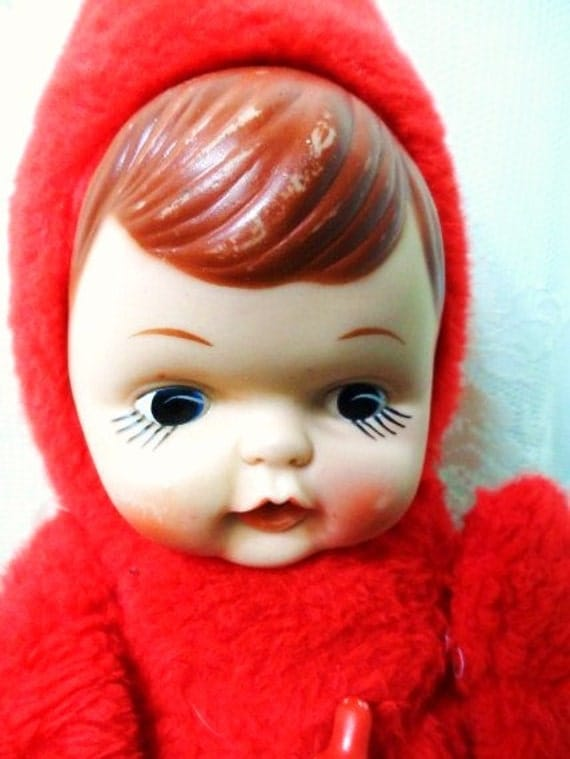 Vintage Plush Baby Doll With Bottle-Rubber Face-Stuffed Fur