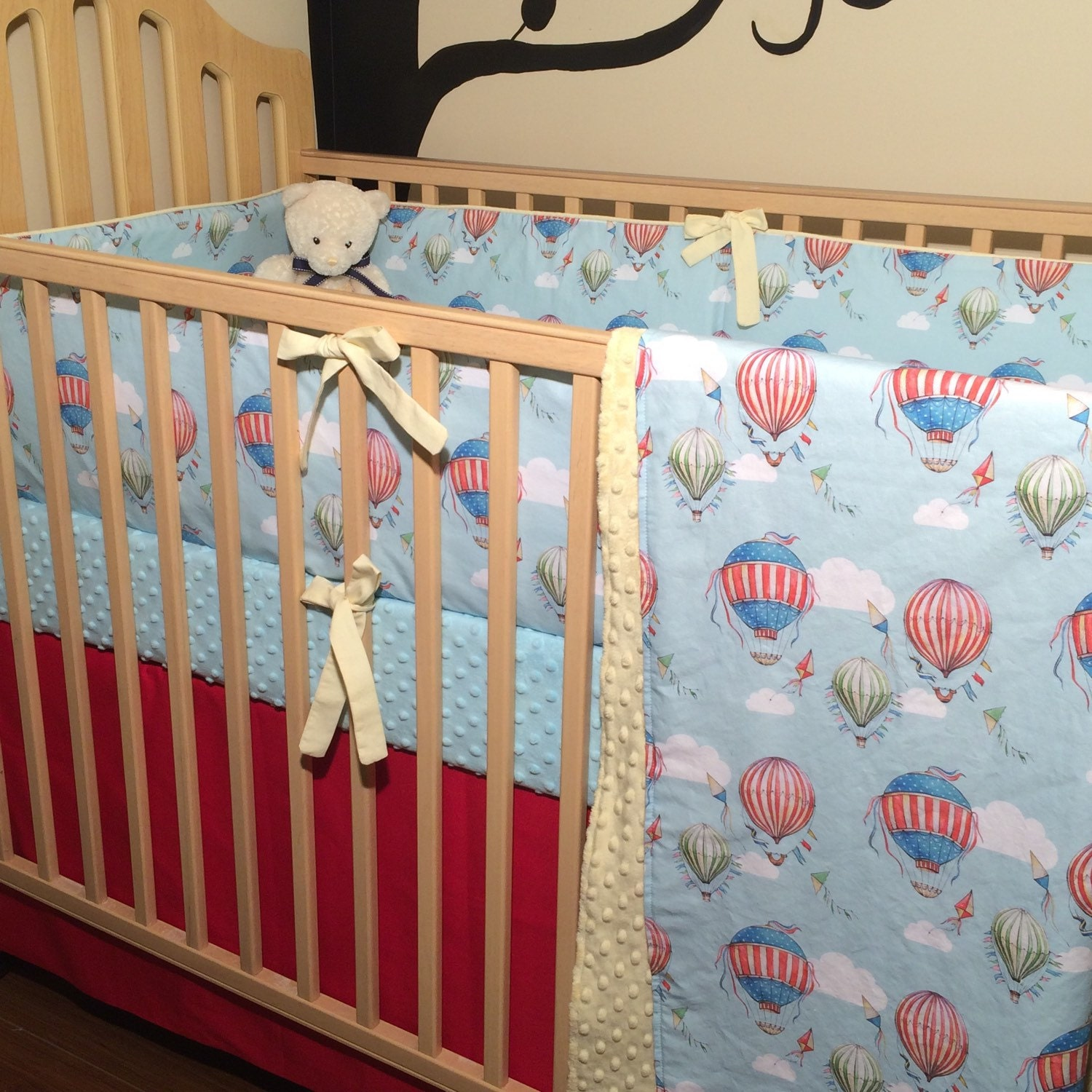 Vintage Hot Air Balloon Baby Boy Bedding Blanket Sheet