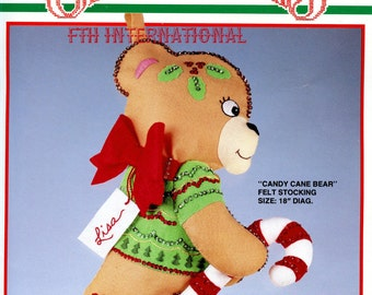 "Bucilla Candy Cane Bear ~ 18"" Felt Christmas Stocking Kit #82732 Vintage, Teddy DIY"