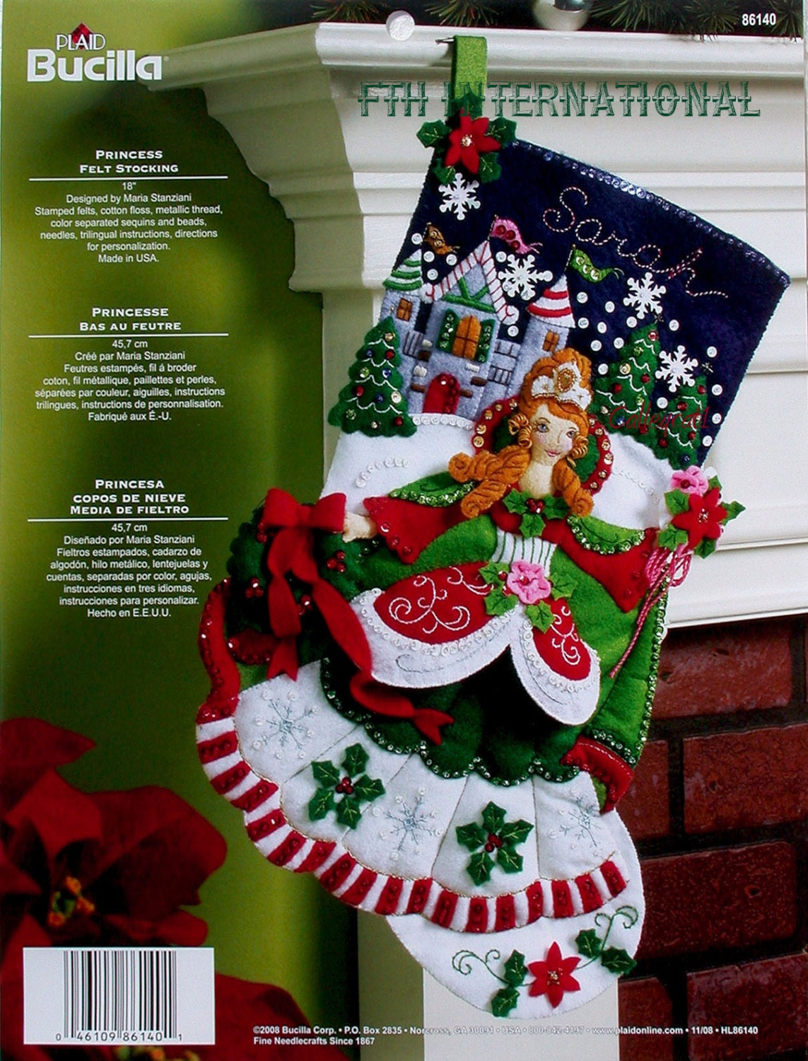 "bucilla princess ~ 18"" felt christmas stocking kit #86140 castle"