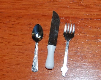 Silverware / Flatware for American Girl or Similar Dolls. Fork, Spoon and Knife.