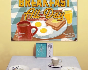 Breakfast All Day Diner Large Metal Sign 28 x 20 - #37100