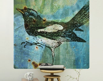 Magpie Bird Rustic Engraving Wall Decal - #62982