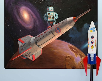 Robot Space Ship Rocket Surfer Wall Decal - #59568