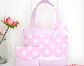 Little Girls Tote Bag and Purse Set / Kids Bag / Toddler / Preschooler Bag - Pink Spot