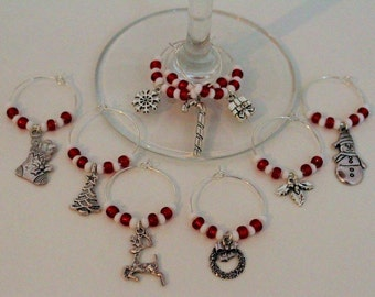 Christmas Wine Glass Charms, festive glass charms