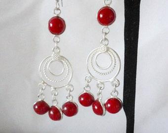 Stunning Silver Chandelier Round Rubies Earrings******.