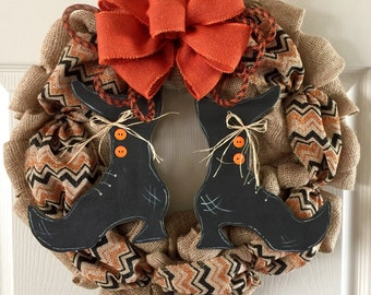 HALLOWEEN WREATH,Distressed Witch Wreath, Witches Leg Door Hanger, Witch Wreath, Witch Wreath, Witches Boots Wreath, Halloween Decor