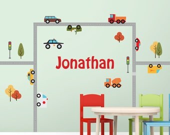 Custom name wall decal ROADS and CARS nursery decal customizable decal kids name decor name decal vinyl decal vinyl stickers baby name boy