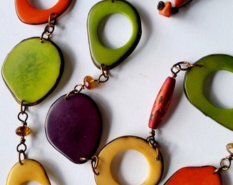 Tropical Celebration! Long Tagua Nut Statement Necklace with Orange, Green and Purple