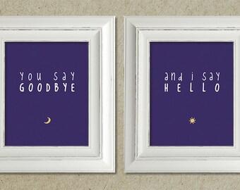 beatles art prints / hello, goodbye lyrics // package deal / discounted price / sale