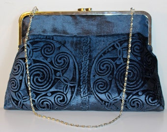 Celtic spirals hand printed design Kisslock Bag in a blue velvet