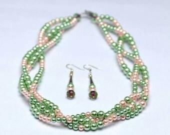 Alpha Kappa Alpha  braided pearl  set.