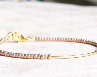 Gilded White Bead Bracelet, Seed Bead Bracelet, Stacking Bracelet, Gold Tube Bracelet, Simple Bracelet, Minimalist Bracelet, Dainty Bracelet