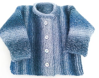 KNITTING PATTERN , Garter Stitch Baby Cardigan,  Baby Sweater , 5 Sizes, Instant Download Pattern, Easy  Pattern, Toddler Buttoned Sweater
