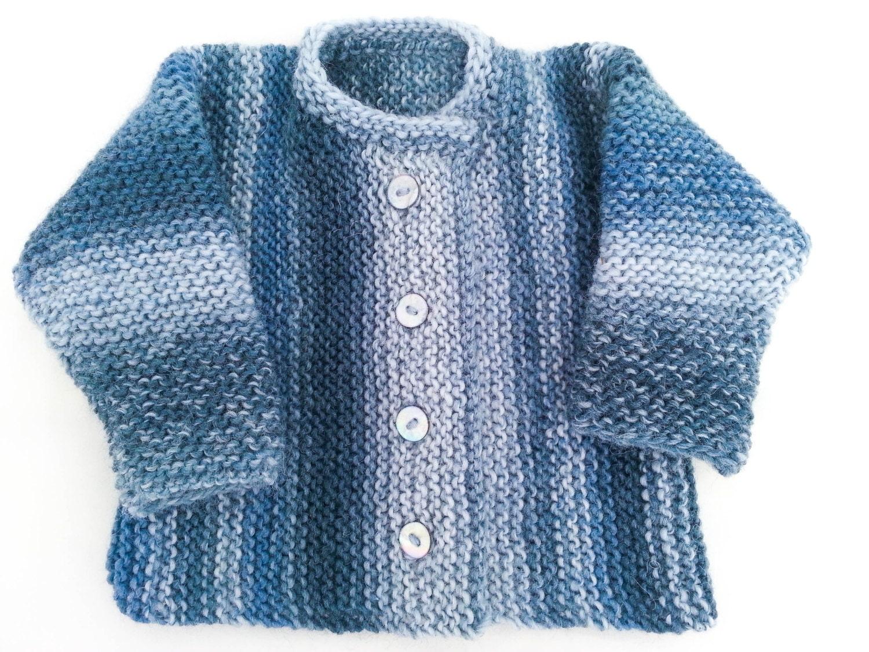 KNITTING PATTERN Garter Stitch Baby Cardigan Baby Sweater