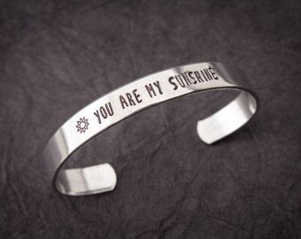 "Customized ""you are my sunshine"" cuff bracelet, mom bracelet, grandma bracelet"