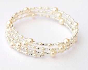 Pearl Bracelet, Bridal Jewellery, Pearl Memory Wire Bracelet, Wedding Accessories, Bridal Accessories, Gift Ideas for Her, Valentines Gifts
