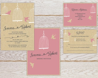 Birdy Wedding Invitation and RSVP card