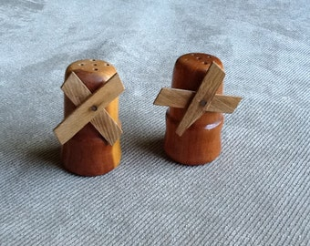 Vintage Wooden Souvenir Windmill Salt And Pepper Shakers From Alpena Michigan