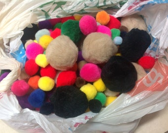 Large lot crafting Pom Pom balls bright colors various sizes
